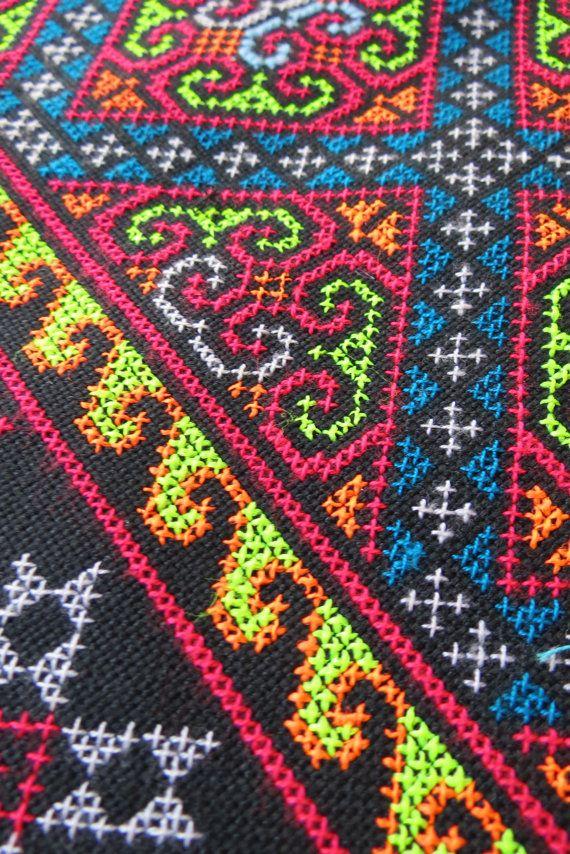 Vintage Hmong fabric Handmade Fabrics handmade by dellshop on Etsy