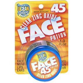 Ocean Potion Protector Facial Ocean Potion Clear Zinc Spf45 10 Oz. Muy resistente al agua. Perfecto para usar en cara, nariz, labios y oídos. El óxido de zinc es conocido mundialmente por sus cualidades de protección solar, el spf 45 protege la piel contra los rayos UVA y UVB. Es ideal para todas las actividades al aire libre, no obstruye los poros y es hipo-alergénico, sin perfume y no es grasosa; se absorbe rápidamente.