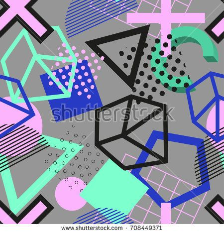 Vector abstract geometric patten in modern memphis style. Background for web,cover, magazine, brochure, poster, party, sport wear. Trendy graphic print for hipsters. Grey, pink and blue colors.