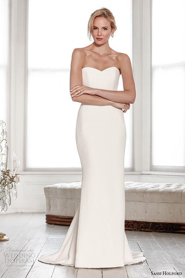 sassi holford wedding dress 2015 bridal signature collection strapless sweetheart neckline sheath dress style jessica. Simple plain wedding dress.