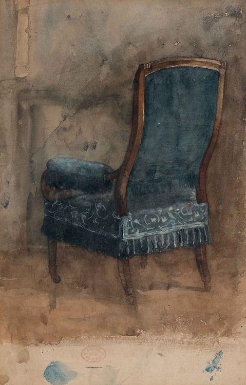Edgar Degas Le Fauteuil [The armchair], 1860. Pencil and watercolour on paper. (C'est une étude pour le fauteuil qui se trouve dans la partie droite de l'œuvre conservée au Musée d'Orsay, La famille Bellelli.)