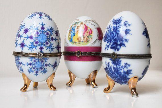 Ring vak Vintage porseleinen dressoir ijdelheid accessoire, ijzeren Ropal porselein ei