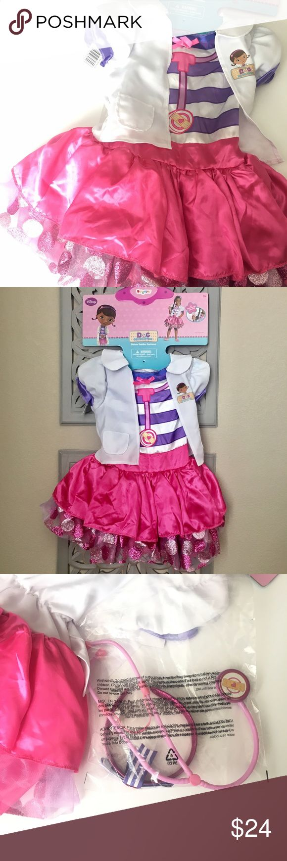 NWT Disney Doc McStuffins Deluxe Toddler Costume NWT Doc McStuffins Deluxe Toddler Costume  •Size: 3+  •Brand new with tags! •Disney Junior Doc McStuffins Character  •Also Includes Headband & Toy Stethoscope   Ships same or next day from a Smoke-Free home! Disney Costumes