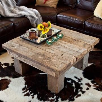 Antiok Table, Featuring century-old barn wood posts and beams, constructed by hand into a modern piece with timeless texture, this square table will be a pleasure to gather around. Now featured on Fab.