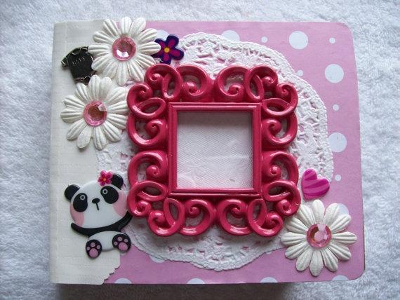 Scrapbook Mini Paper Bag Album Pink Panda for Baby by ljbminis2021, $15.99