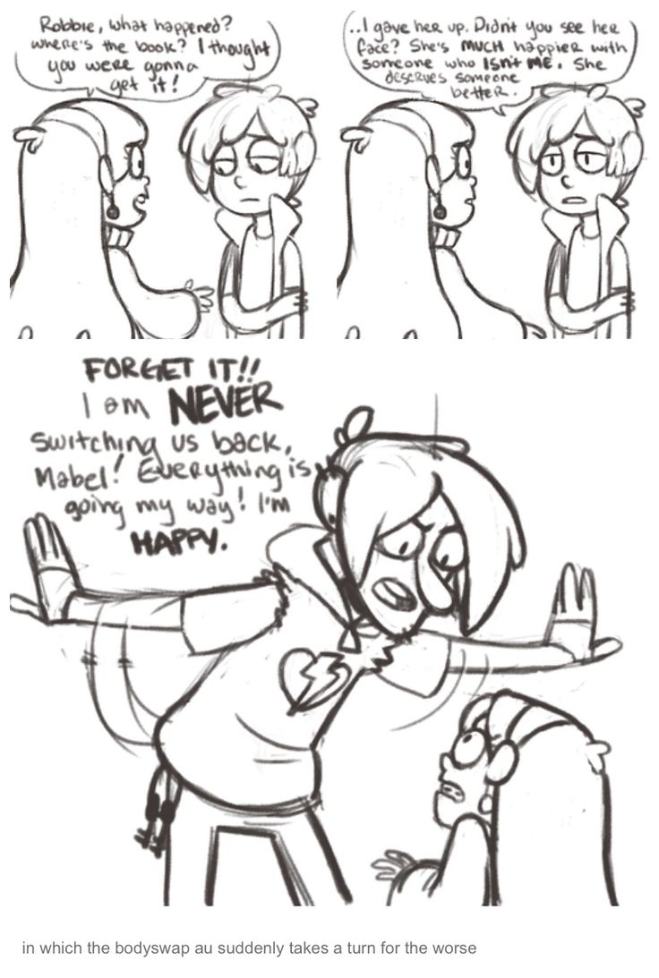 Robbie and dipper body swap by oodleskaboodles on tumblr