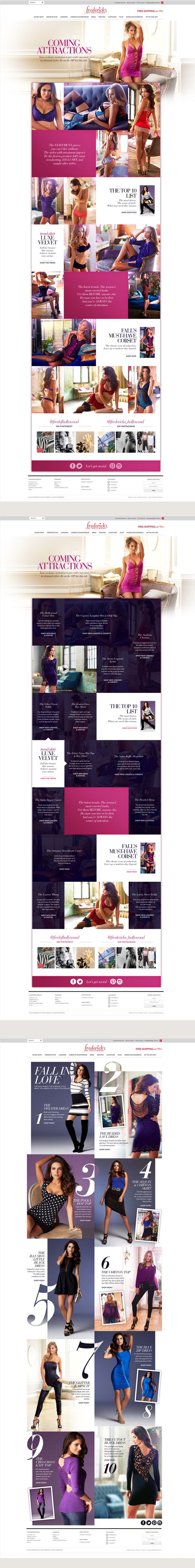 Fashion Landing Pages - Frederick's of Hollywood by Lauren Darla Carroll, via Behance