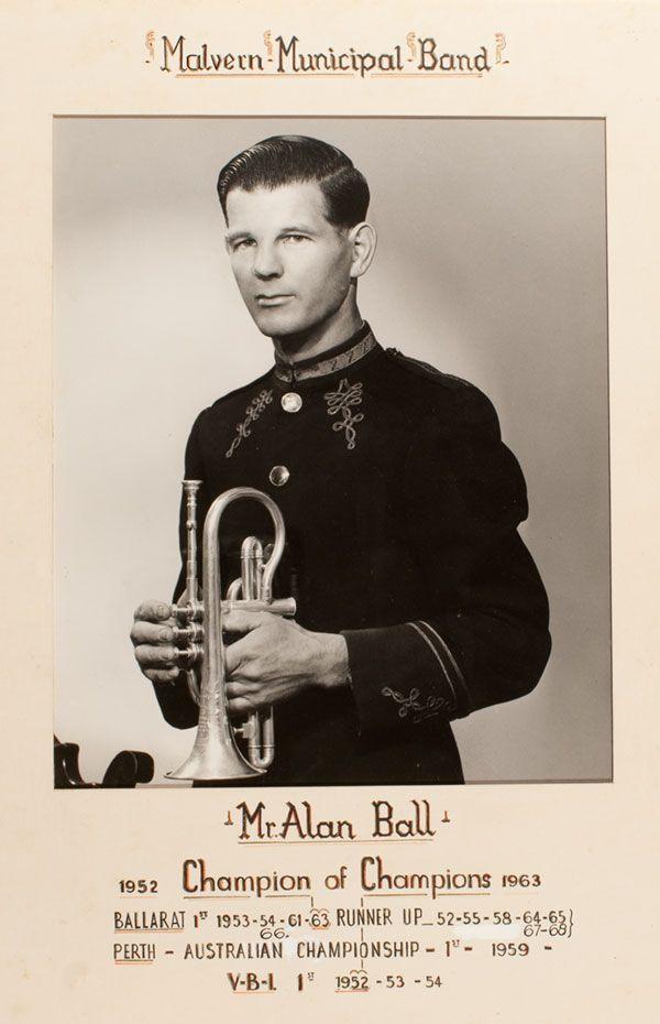 MP 61565. Member of the Malvern Municipal Band, Alan Ball Champion of Champions 1952-1963.