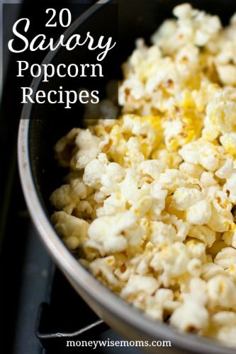 Jazz up your popcorn with these 20 Savory Popcorn Recipes, all using real food. Perfect for game night, football watching, or afterschool snacks.