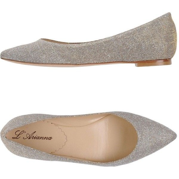 L'arianna Ballet Flats (9.250 RUB) ❤ liked on Polyvore featuring shoes, flats, silver, ballet pumps, ballet flats, leather flats, leather ballet flats and ballerina pumps