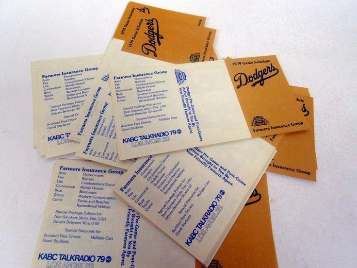 lot of 25 LA Dodgers pocket schedule sked 1979 Farmers Insurance MBL