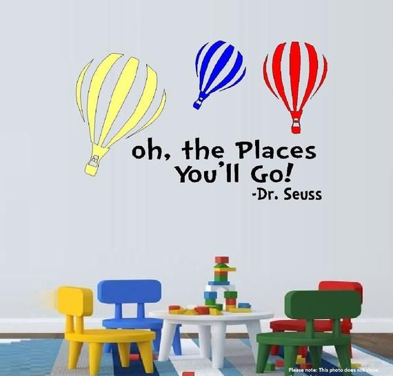 Oh The Places You Go with Colored Balloons ~ Wall or Window Decals