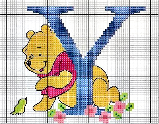 #Monograma Ursinho Pooh - letra Y #bordado #CoatsCorrente