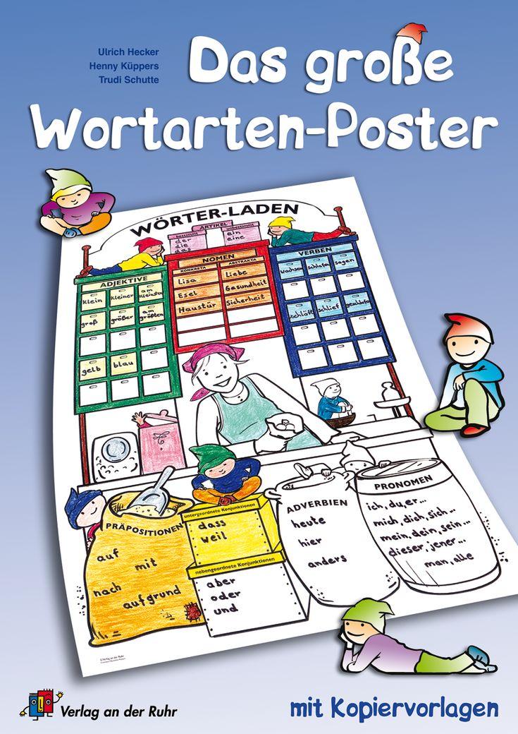 Das große Wortarten-Poster mit Kopiervorlagen ++ Poster für #Grundschule und Förderschule, Fach: #Deutsch, Klasse 2-4 ++ A0 Poster inkl. 16 S. Begleitheft A4, in praktischer Aufbewahrungstasche + Begleitend zum Unterricht werden die abgebildeten Regale und Schubladen des Wörter-Ladens nach und nach mit Adverbien, Adjektiven, Konjunktionen, Nomen, Pronomen, Präpositionen und Verben gefüllt + Eine Hilfe zum ständigen Wiederholen, Erinnern und zum Weiterlernen