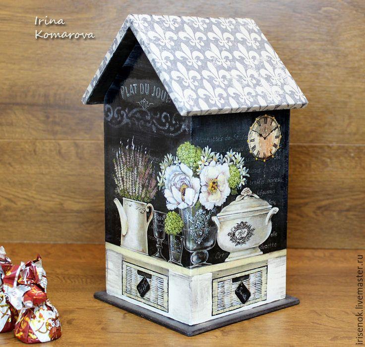 Купить La Maison, Чайный домик - темно-серый, чайный домик, Декупаж, подарок на новоселье
