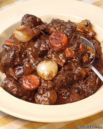 "Beef Bourguignonne - This traditional French recipe, rich with red wine and herbs, has been adapted from Julia Child's ""Mastering the Art of French Cooking-Volume 1."""