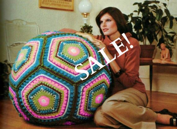 Vintage Hippie Granny Square Giant Floor Pillow Pouf Ball Cushion Crochet Pattern Digital Download PDF - pinned by pin4etsy.com