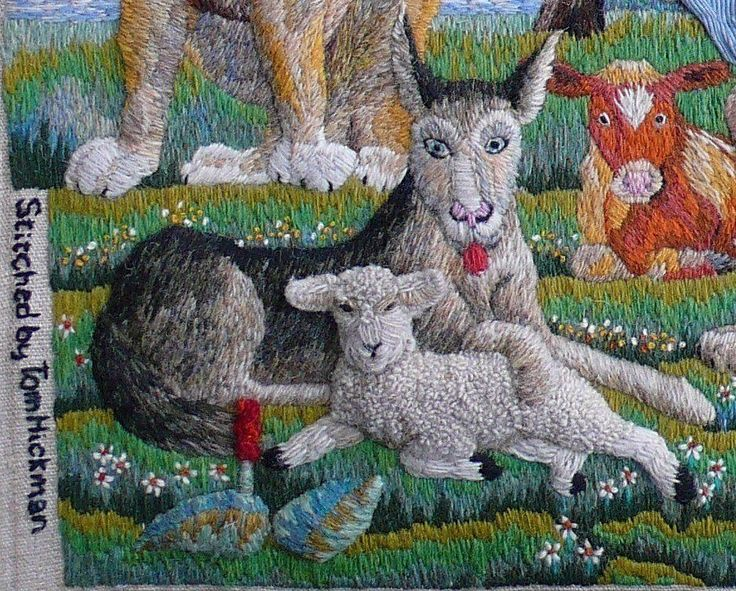 Tom Hickman stitches complex high relief stump-work embroidery as well as jovial images of local crofters' sheep