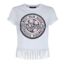 Teens White West Palm Beach Fringed T-Shirt  | New Look