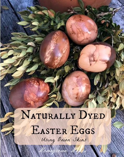 Create safe and beautifully dyed Easter eggs using onion skins and natural materials from your own yard!