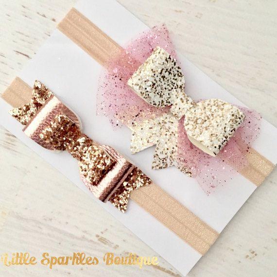 Arco de oro brillo brillo rosa arco arco por Littlesparklesbtique
