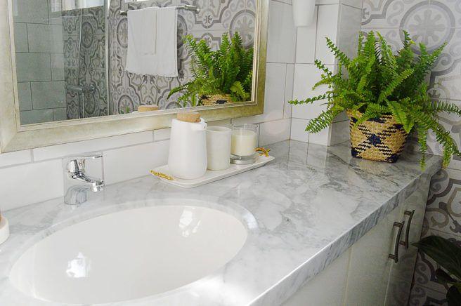 Marble countertop on a boho bathroom renovation