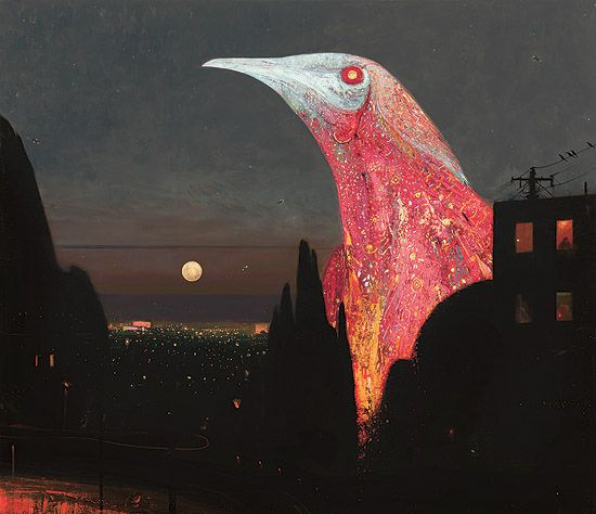 Shaun Tan - Empire (red wattlebird), oil on canvas, 180 x 150cm