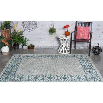 TayseRugs Veranda Traditional Teal Indoor/Outdoor Area Rug Rug Size: 6'7'' x 9'6''