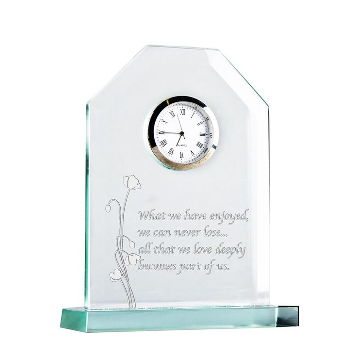 Celtic Crystal Remembrance Pedestal Clock. This new engraved clock pays tribute to the sacrifices made by the heroes who have fought at war on our behalf. Crafted and finished by hand, delicate poppies embrace the poignant sentiment ''What we have enjoyed, we can never lose... all that we love deeply becomes part of us''. Set with a quartz movement, the clock stands 5.5''