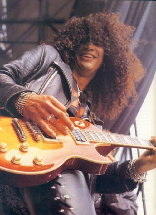 """Slash (Guns N' Roses) performing at The Donington Monsters of Rock Festival in August 1988."""