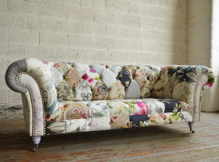 The Grace Chesterfield Sofa is a modern piece of patchwork furniture,  infused with vintage floral
