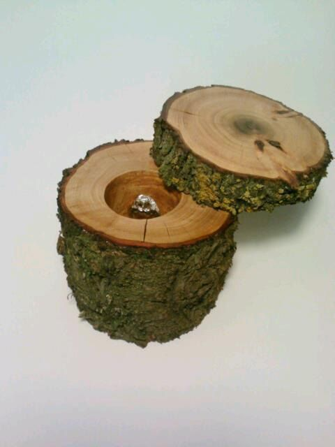 Rustic Log Jewelry Box, Ring Bearer Box, Keepsake Box via   Whoa that's super cool!   Since you won't have a ring kid this would be neato!