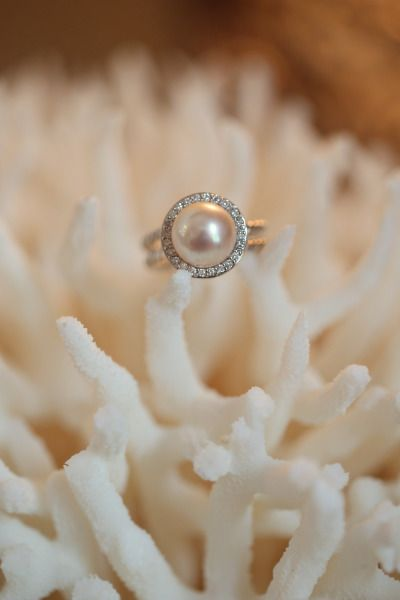 Pearl and diamond ring: http://www.stylemepretty.com/new-jersey-weddings/avalon/2015/04/07/new-jersey-nautical-yacht-club-wedding/ | Photography: Alison Conklin - http://alisonconklin.com/