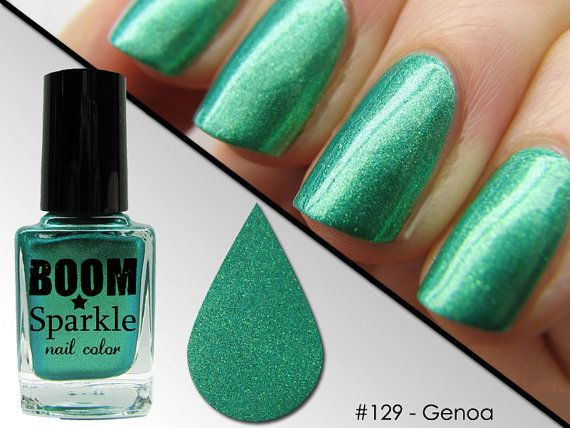 Genoa (129) - Green Nail Polish with Deep Golden Shimmer