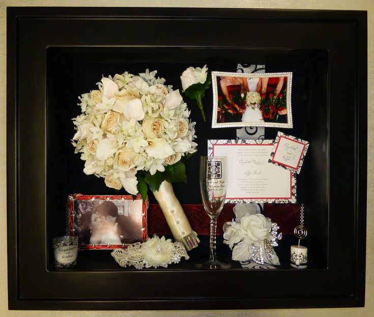 Preserved wedding bouquet flowers displayed in a custom
