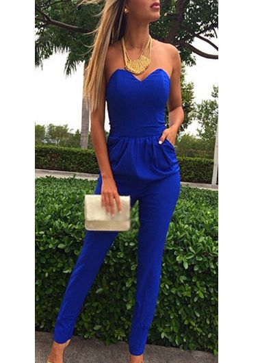 Catching Blue Strapless Ankle Length Jumpsuit for Woman