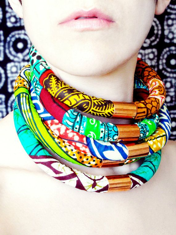 CHOOSE 2 for 45  African Fabric Neck Rope by RitaVanTassel on Etsy, $45.00