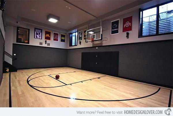 15 Ideas For Indoor Home Basketball Courts Home Design Lover In 2020 Home Basketball Court Home Gym Design Indoor Basketball Court