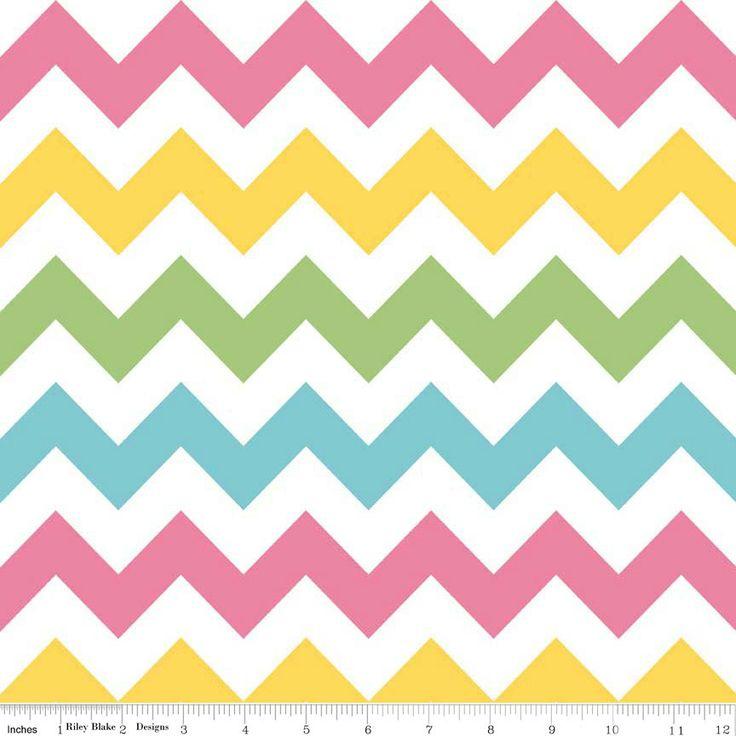 Pink Yellow Green and Aqua Girl Chevron Cotton for Riley Blake, 1 Yard. $8.25, via Etsy.