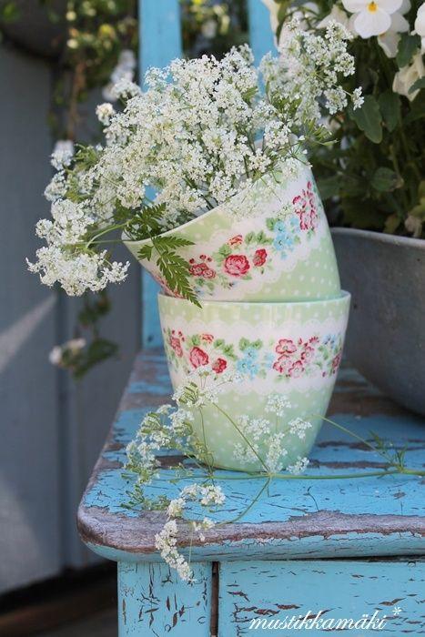 GreenGate Bella Rose Collection: Shabby Chic Green Dishware, via rusticromances.tumblr.com
