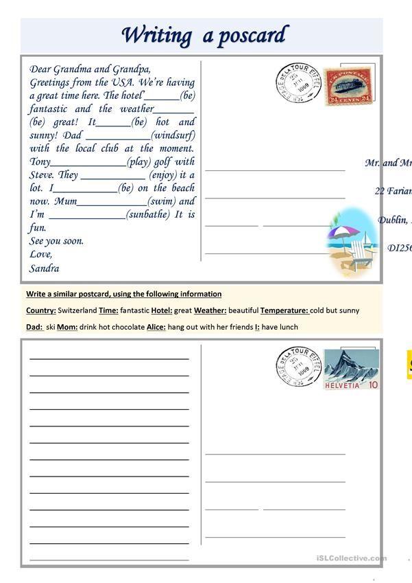 Writing A Postcard Worksheet Free Esl Printable Worksheets Made By Teachers English Writing Skills English Writing Writing Skills