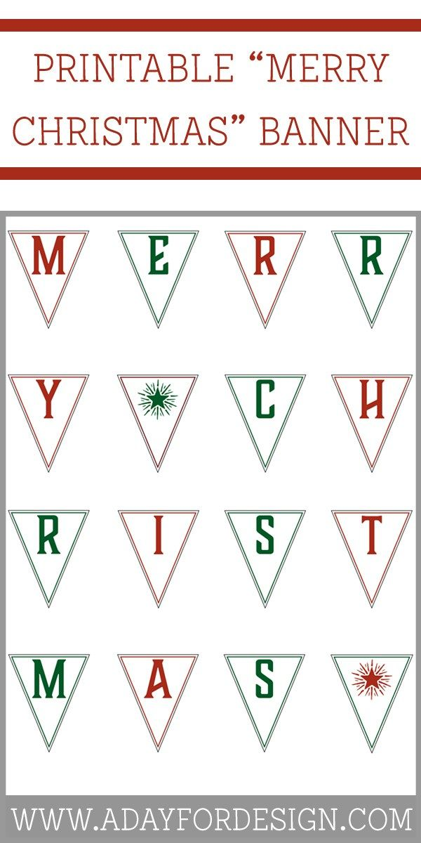 FREE Printable Merry Christmas Banner. This printable Merry Christmas banner is a great way to put the finishing touches on your Christmas decorations!