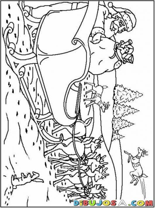 Dibujo De Santa Alistando El Trineo Para Pintar | COLOREAR DIBUJOS DE NAVIDAD | Dibujo De Santa Alistando El Trineo Para Pintar | dibujosa.com