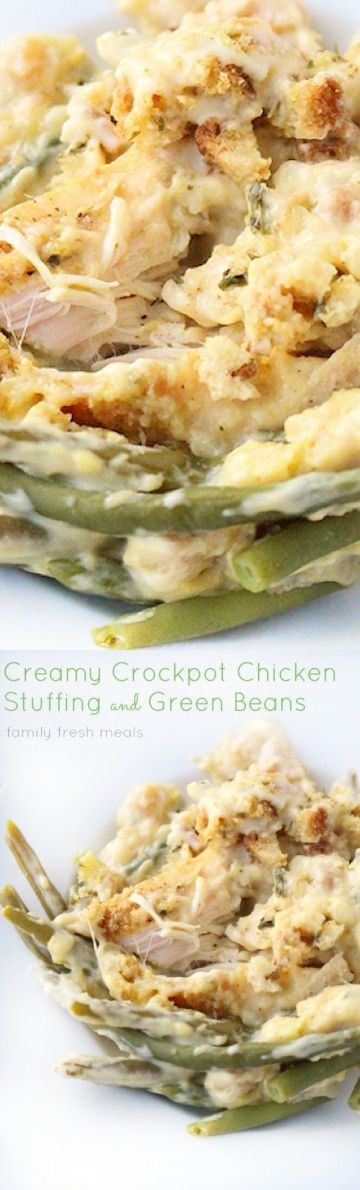 1 (10.5 oz can Cream of chicken condensed soup. 1 10 oz bag Green beans, frozen. 1 Salt and pepper. 1 (6oz box Stuffing mix. 3/4 cup Sour cream. 1/3 cup Water. 2 Lbs (about 4 chicken breast.
