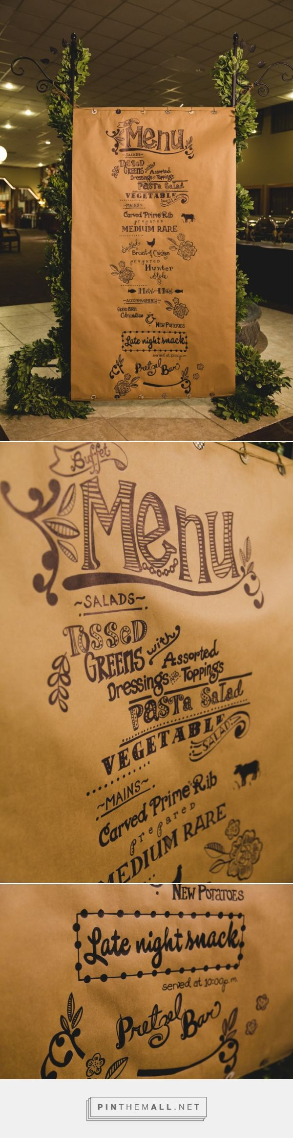 Large hand-written and hand-illustrated menu on butcher paper - EventChic Blog - Dallas Fort Worth Event, Wedding and Party Planning - created via http://pinthemall.net