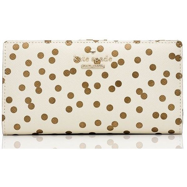 Kate Spade Cedar Street Confetti Dot Stacy ($100) ❤ liked on Polyvore featuring bags, wallets, accessories, continental wallet, credit card holder wallet, kate spade bags, polka dot wallet and kate spade