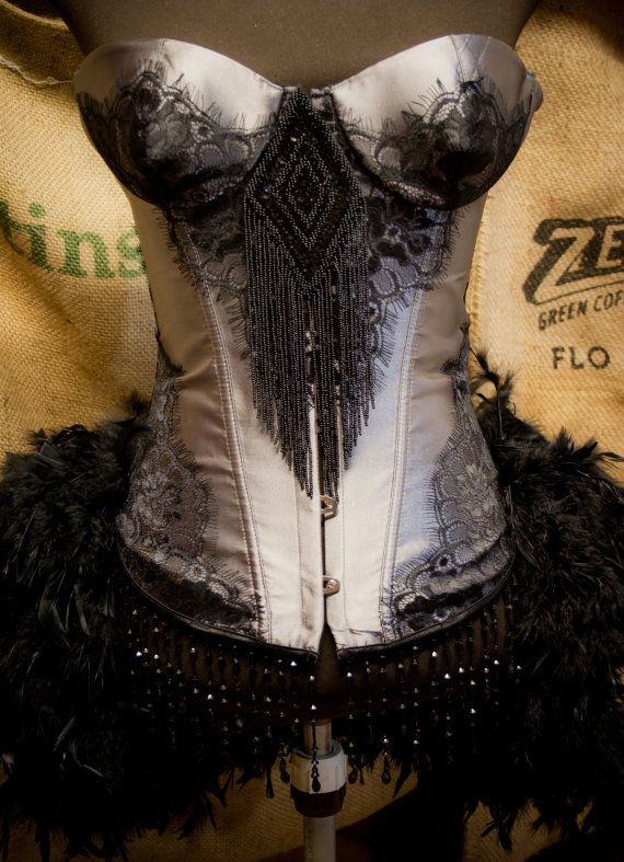 MISTRAL   Black Grey Halloween Burlesque Corset by olgaitaly, $155.00  love love love!!