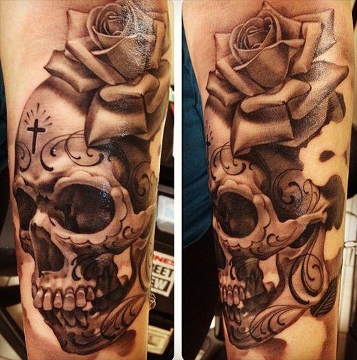 Sugar Skull Tattoo Black And Grey Rose and skull by eric