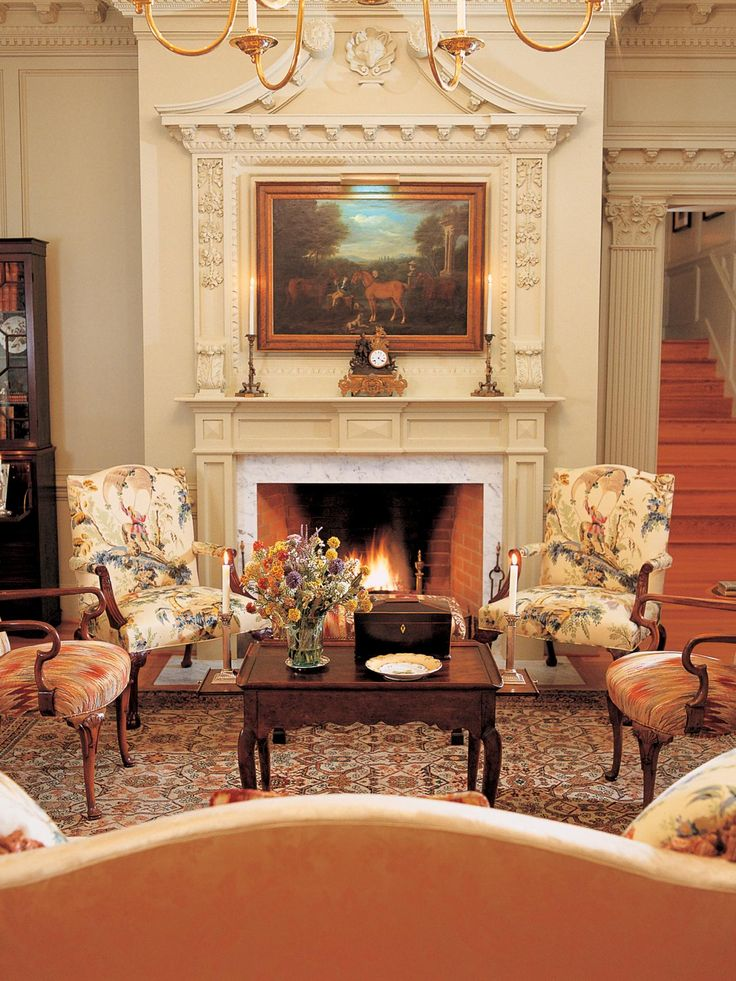 Charles Faudree Designed This Formal Living Room With Its Sumptuous Oriental Rug And Classic Painting Above