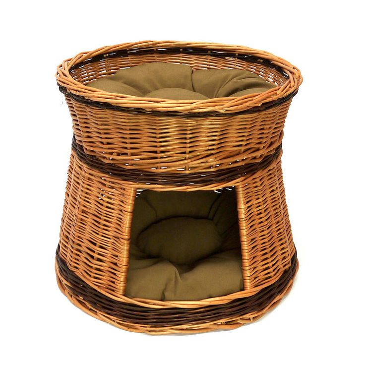 Two Tier Wicker Cat House With Cushions from notonthehighstreet.com